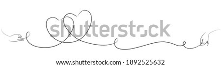 Line art with two intertwined hearts and hand drawing the lines Stock foto ©