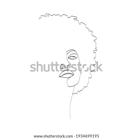 Line Art Woman Face Drawing. Black Woman Vector. Afro American Female Logo. Contouring Line. Minimalist Face. Beauty salon Stockfoto ©
