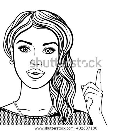 line art woman smiling face