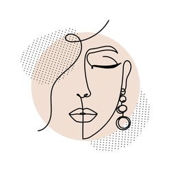Line art women face with abstract shapes. Continuous art abstract face portrait vector illustration.Modern fashion illustration for prints, logo, business, card, highlights etc.