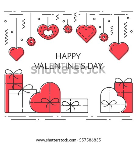 Line banner for Saint Valentines day and romantic date theme. Elements of love for greeting card in vector illustration.
