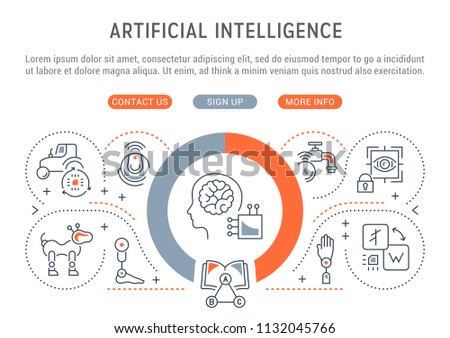 Line banner of artificial intelligence. Vector illustration of robots, technics and scientific development.