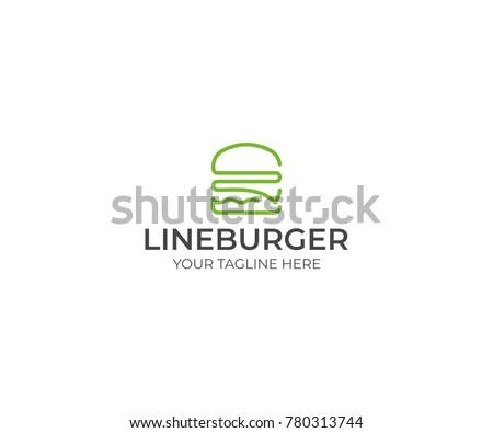 Line Burger Logo Template. Hamburger Vector Design. Fast Food Illustration