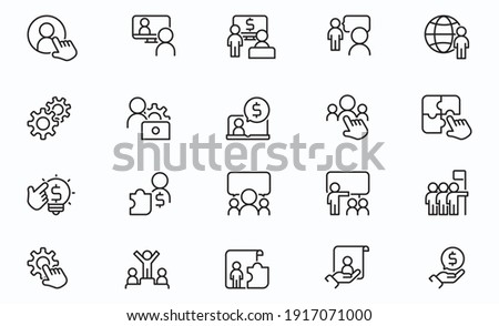 Line Business Management Icons stock illustration Data, Meeting, Working