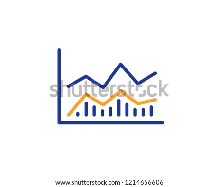 Line chart icon. Financial growth graph sign. Stock exchange symbol. Colorful outline concept. Blue and orange thin line color icon. Trade infochart Vector