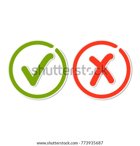 Line check mark stickers, green tick hook and red cross signs in circle. Button for vote YES and NO