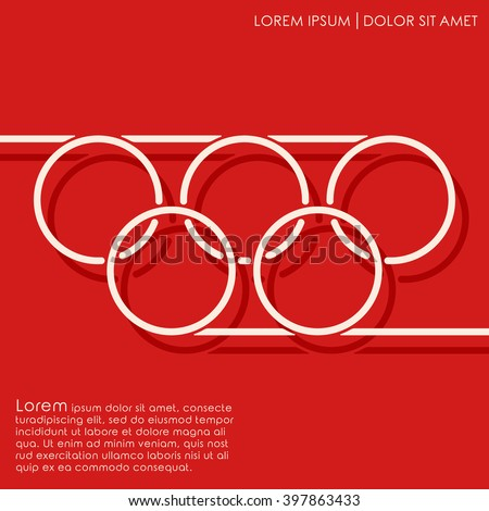 Line circles on red background. Linked circles. Cover brochures, flyer, card design template. Vector illustration