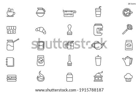 Line Coffee and Tea Icons stock illustration Restaurant, Icon, Coffee - Drink, Caffe stock illustration Foto d'archivio ©
