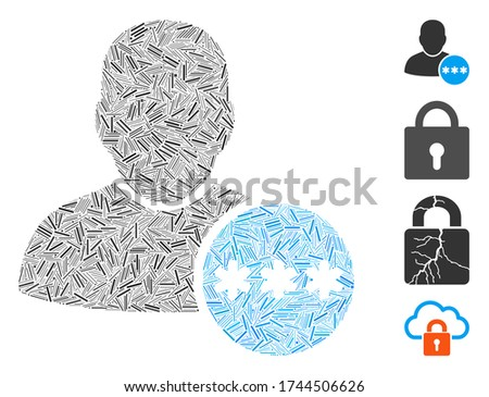 Line collage user password icon constructed from narrow items in various sizes and color hues. Line items are composed into abstract vector collage user password icon. Bonus pictograms are added.