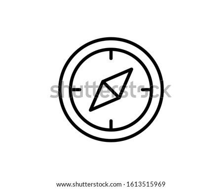 Line Compass icon isolated on white background. Outline symbol for website design, mobile application, ui. Compass pictogram. Vector illustration, editorial stroke. Eps10