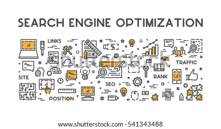 Line concept for search engine optimization. Vector linear web banner for seo. Open path.