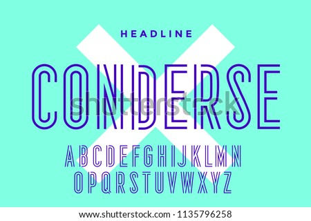 Line condensed alphabet and font. Condensed thin uppercase outline letters. Type, typography letter line font. Hand-drawn modern narrow sans serif line font for headline. Vector Illustration