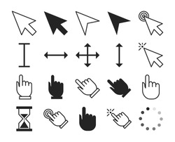 Line cursor set vector isolated. Collection of mouse arrow, computer pointer. Hand sign showing direction.