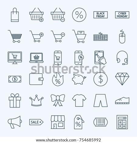 Line Cyber Monday Icons. Vector Set of Outline Black Friday Sale Symbols.