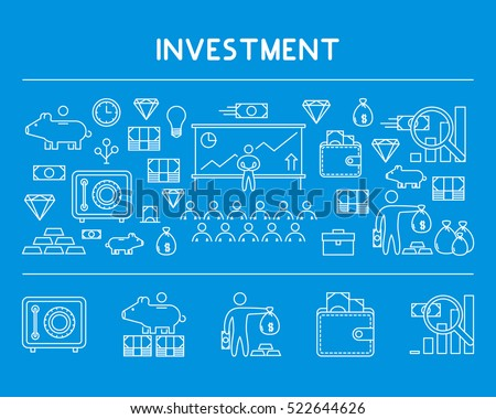 Line design concept horizontal banner for investment. Vector landing page