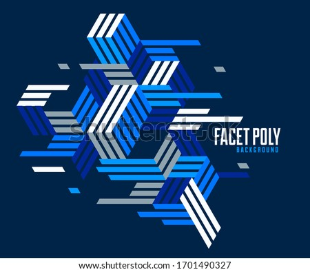 Line design 3D cubes and triangles abstract background, polygonal low poly isometric retro style template. Stripy graphic element isolated. Template for poster or banner, cover or ad.