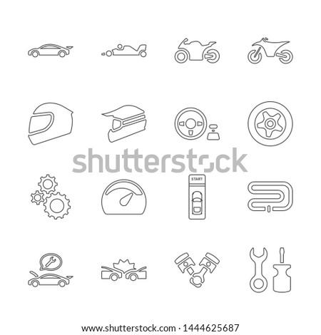 line design icon set of racing