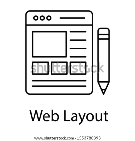 line design of web interface as a web layout icon