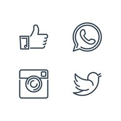 Line designed vector icons of like, handset, camera and bird for social media, websites, interfaces. Like icon eps. Social media icons set.