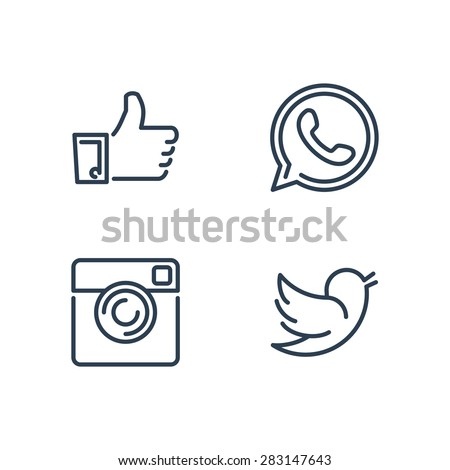 Line designed vector icons of like, handset, camera and bird for social media, websites, interfaces. Like icon eps. Social media icons set. #283147643