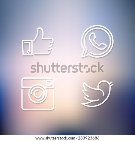 Line designed vector icons of like, handset, camera and bird on blurred background for social media, websites, interfaces. Social media icons eps. #283923686