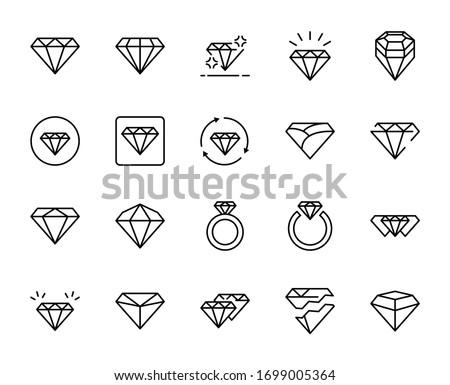 Line diamond icon set isolated on white background. Outline money symbols for website design, mobile application, ui. Collection of fashion pictogram. Vector illustration, editable strok. Eps10 Foto stock ©
