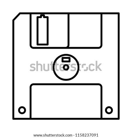line diskette retro computer data media