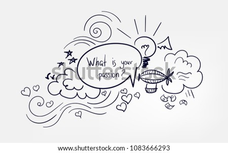 line doodle vector sketch design what is your passion