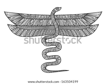 line drawing a flying snake