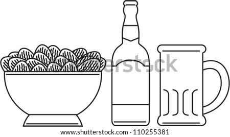 Line drawing illustration of a beer bottle, beer mug, bowl of potato chips done in black and white.