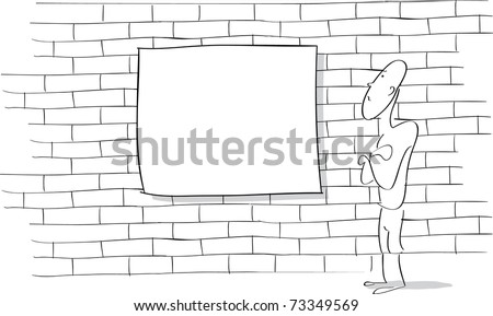 Line drawing of a cartoon character looking at a blank sign on a brick wall.