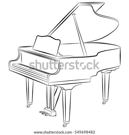line drawing of a grand piano