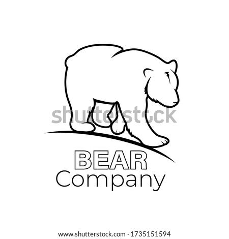 line drawing of big grizzly