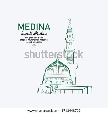 Line drawing of MEDINA, SAUDI ARABIA -  The green dome of prophet muhmamad mosque. masjid un nabawi