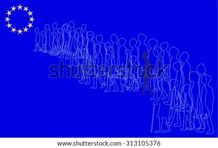 line drawing of people walking