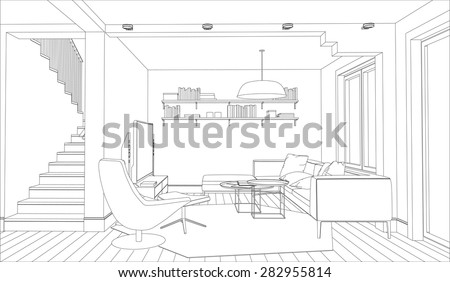 line drawing of the interior on