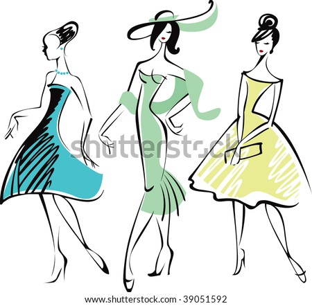 Line drawing of three fashionably dressed woman
