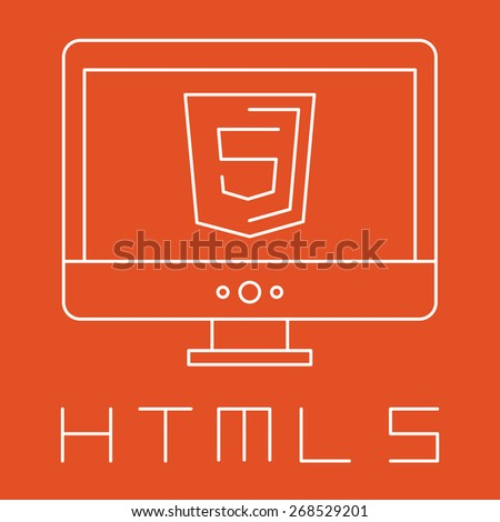 line drawn simple illustration of orange shield with html five sign on the screen, isolated white web site development icon on orange