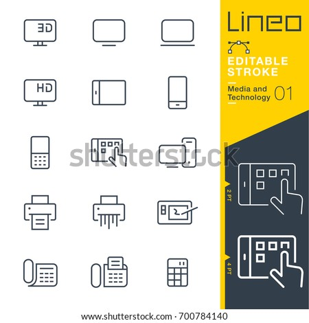Line Editable Stroke - Media and Technology line icons Vector Icons - Adjust stroke weight - Expand to any size - Change to any colour