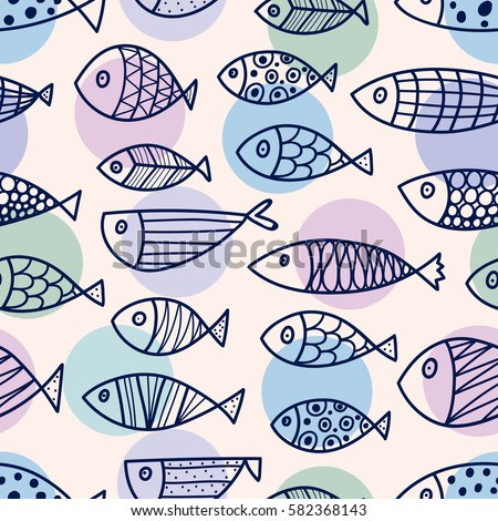 line fish vector seamless