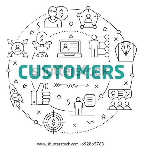 Line Flat Circle illustration customers