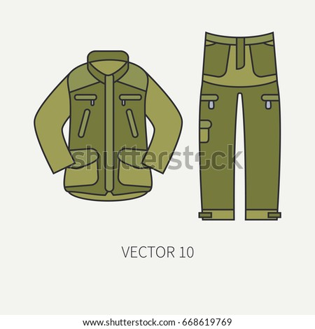 line flat color vector hunt and