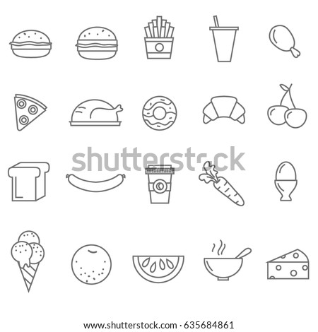 Line food icons set