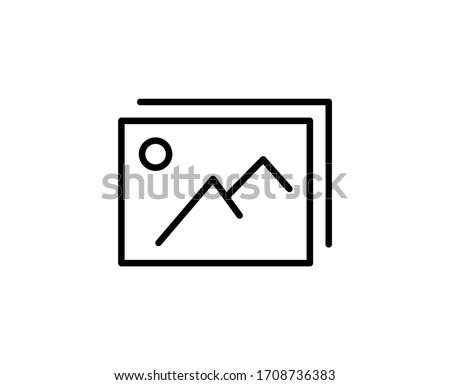 Line Gallery icon isolated on white background. Outline symbol for website design, mobile application, ui. Gallery pictogram. Vector illustration, editorial stroke. Eps10