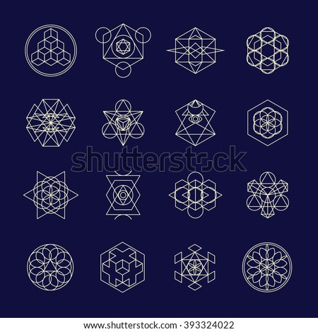 Line geometric design symbols and elements. Beautiful combinations of shapes related to alchemy, religion, philosophy. For t-shirt, phone cases, fabric, wallpapers and etc.