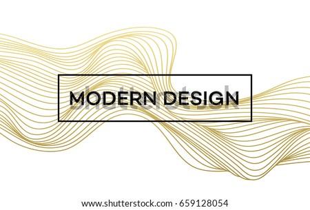 line golden wave on white
