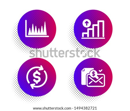 Line graph, Graph chart and Usd exchange icons simple set. Halftone dots button. Accounting report sign. Market diagram, Growth report, Currency rate. Check finance. Finance set. Vector