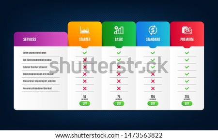 Line graph, Graph chart and Usd exchange icons simple set. Price list, pricing table. Accounting report sign. Market diagram, Growth report, Currency rate. Check finance. Finance set. Vector