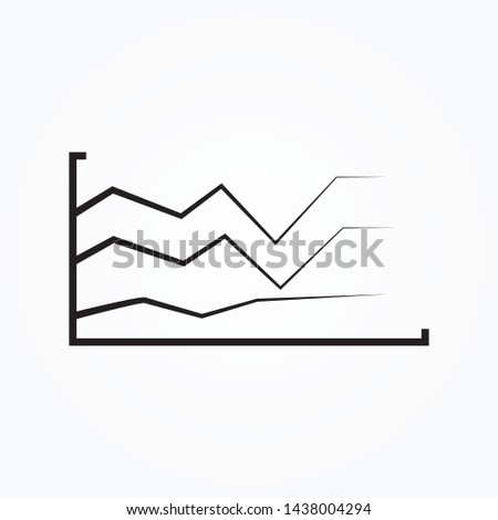 line graph icon graph chart isolated , growth diagram illustration Vector chart . graph icon. simple outline graph vector icon. on white background.