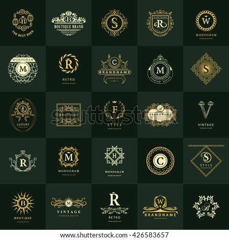 Line graphics monogram. Vintage Logos Design Templates Set. Business sign Letter emblem. Vector logotypes elements collection, Icons Symbols, Retro Labels, Badges, Silhouettes. Premium Collection